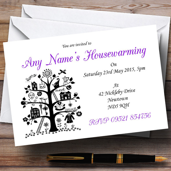 Purple White And Black Housewarming Party Personalised Invitations