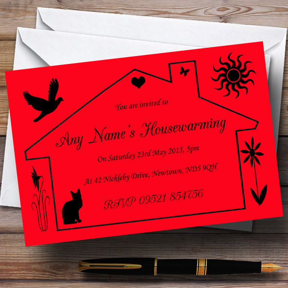 Red Design Housewarming Party Personalised Invitations