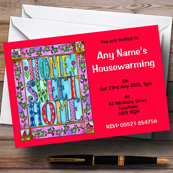 Red Home Sweet Home Housewarming Party Personalised Invitations
