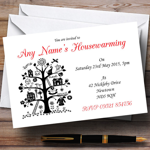 Red White And Black Housewarming Party Personalised Invitations