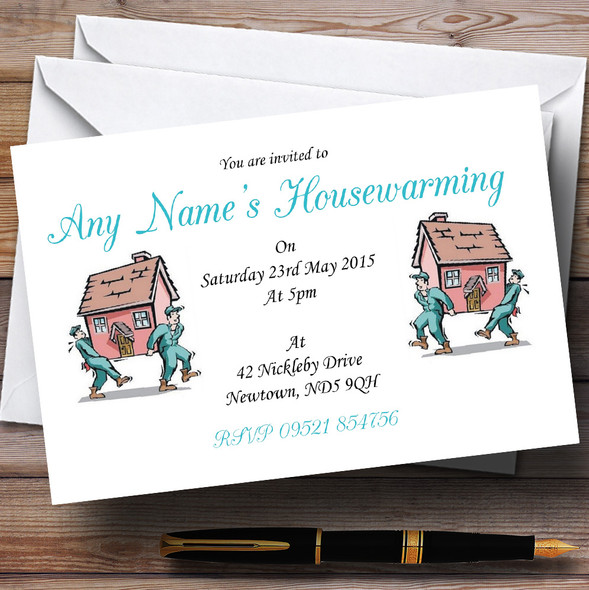 Removal Men Housewarming Party Personalised Invitations