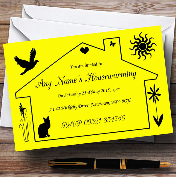 Yellow Design Housewarming Party Personalised Invitations