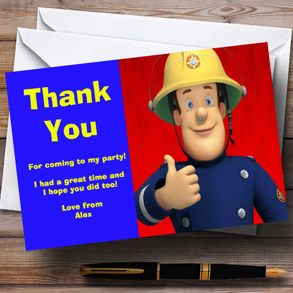 Fireman Sam Red And Blue Personalised Children's Birthday Party Thank You Cards