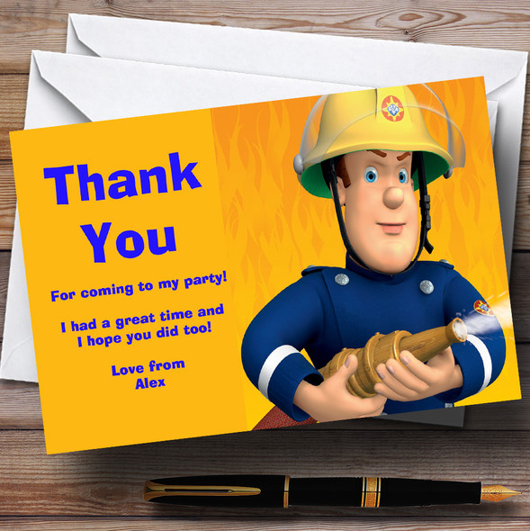 Fireman Sam Personalised Children's Birthday Party Thank You Cards