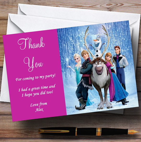 Frozen Pink Personalised Children's Birthday Party Thank You Cards