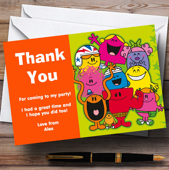 Mr Men Personalised Children's Birthday Party Thank You Cards