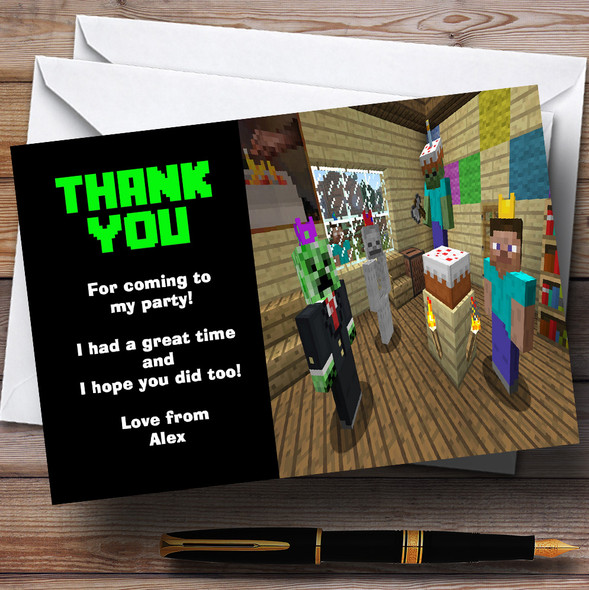 Minecraft Party Thank You Cards Personalised Children's Birthday Party Thank You Cards