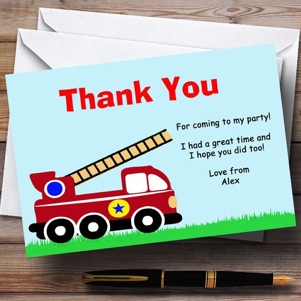 Fireman Fire Engine Personalised Birthday Party Thank You Cards