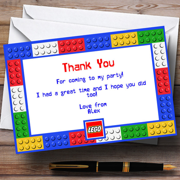 Lego Bricks Personalised Birthday Party Thank You Cards