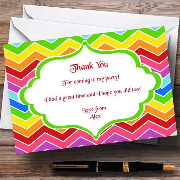 Bright Rainbow Colours Personalised Birthday Party Thank You Cards