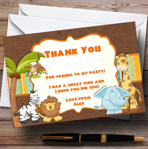 Cute Safari Jungle Animals Personalised Birthday Party Thank You Cards