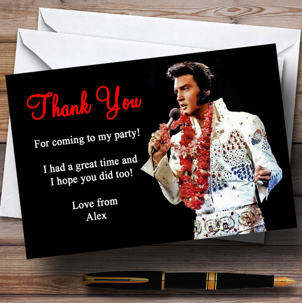 Elvis Presley Red Personalised Party Thank You Cards