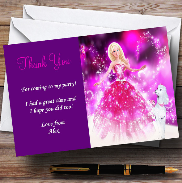 Purple Barbie Personalised Children's Party Thank You Cards