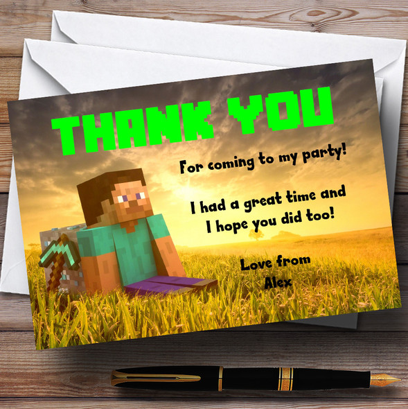 Minecraft Personalised Children's Party Thank You Cards
