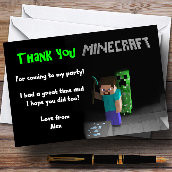 Cool Minecraft Personalised Children's Party Thank You Cards