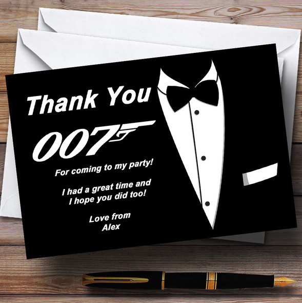 James Bond d Personalised Party Thank You Cards