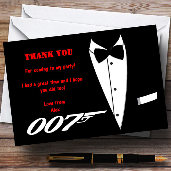 James Bond Personalised Party Thank You Cards