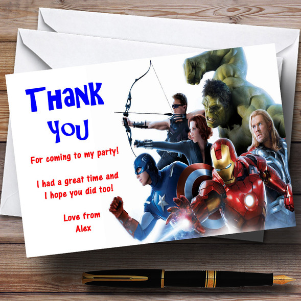 The Avengers Superheroes Personalised Children's Party Thank You Cards