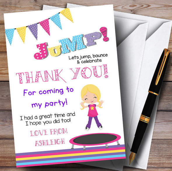 Blonde Girl Trampoline Party Thank You Cards