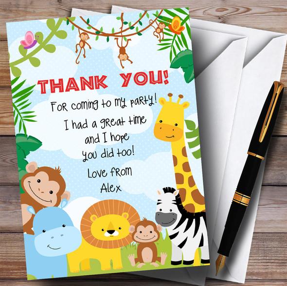 Bright Safari Jungle Animals Party Thank You Cards