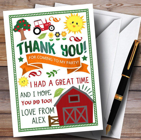 Country Farm Tractor Party Thank You Cards