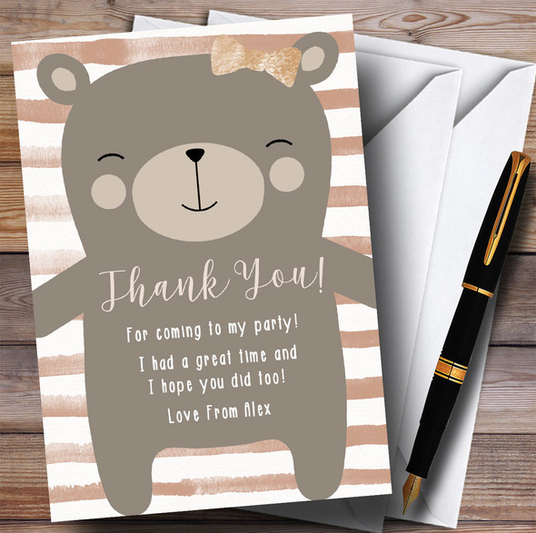Large Teddy Bear Neutral Party Thank You Cards