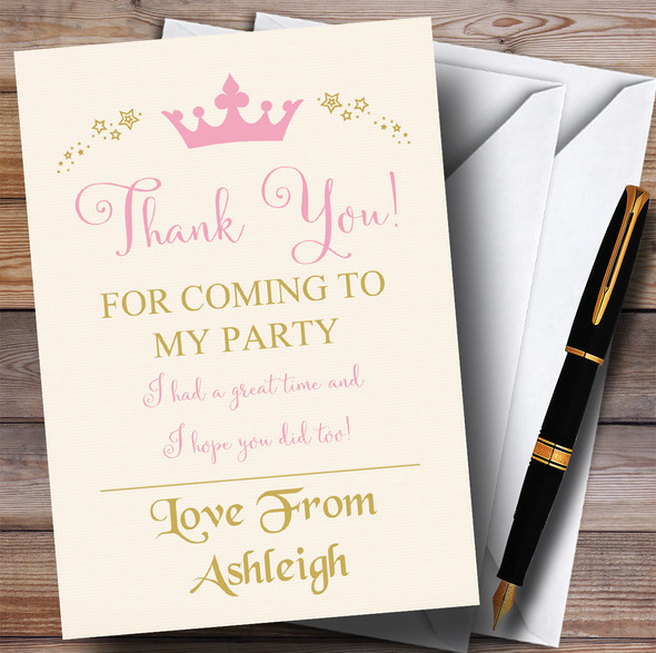 Pink Crown Princess Party Thank You Cards