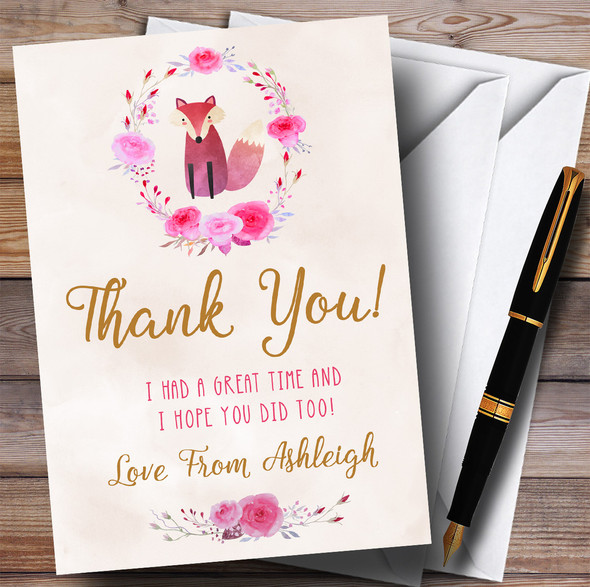 Pink Watercolour Fox Girls Party Thank You Cards