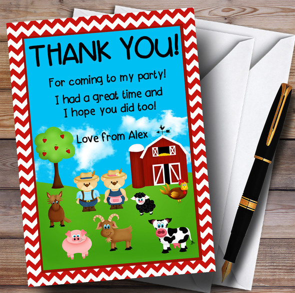 Red Chevrons Farm Animals Party Thank You Cards
