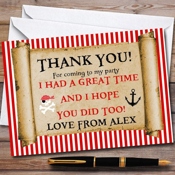 Red Stripes Pirate Scroll Party Thank You Cards