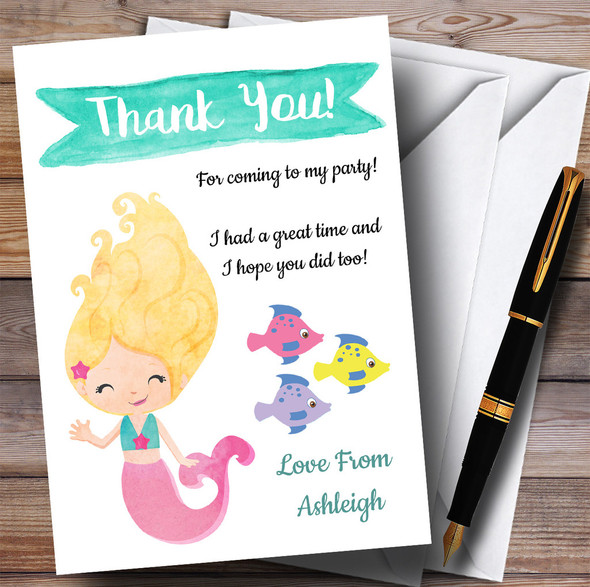 Smiling Mermaid Party Thank You Cards