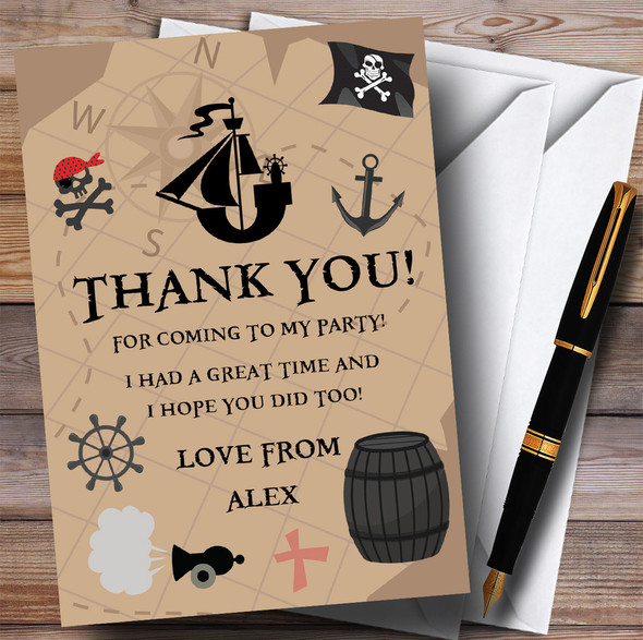 Treasure Map Pirate Party Thank You Cards