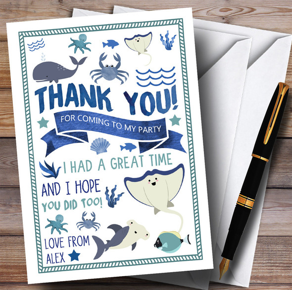 Whale Shark Fish Ocean Under The Sea Party Thank You Cards