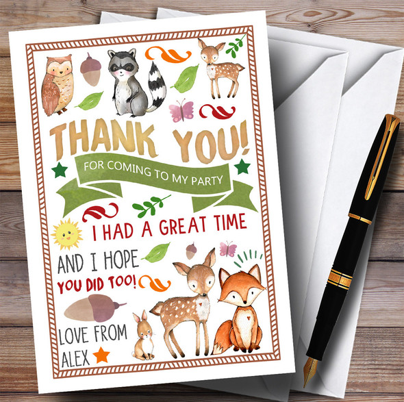 Woodland Animals Forest Party Thank You Cards