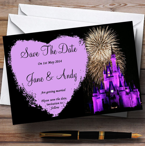 Disney Castle Fireworks Personalised Wedding Save The Date Cards