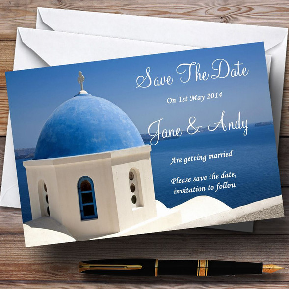 Santorini Greece Jetting Off Abroad Personalised Wedding Save The Date Cards