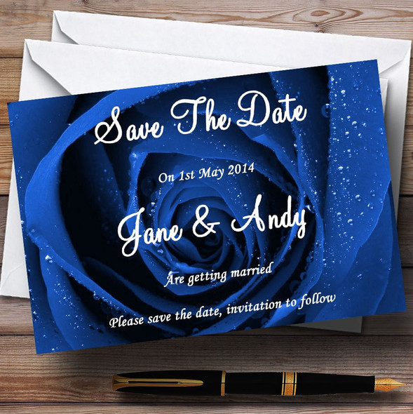 Stunning Royal Blue Rose Personalised Wedding Save The Date Cards