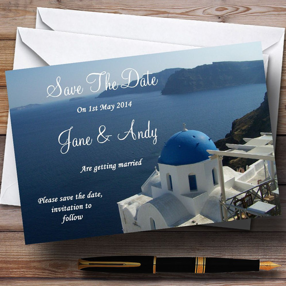 Greece Santorini Sea Jetting Off Abroad Personalised Wedding Save The Date Cards