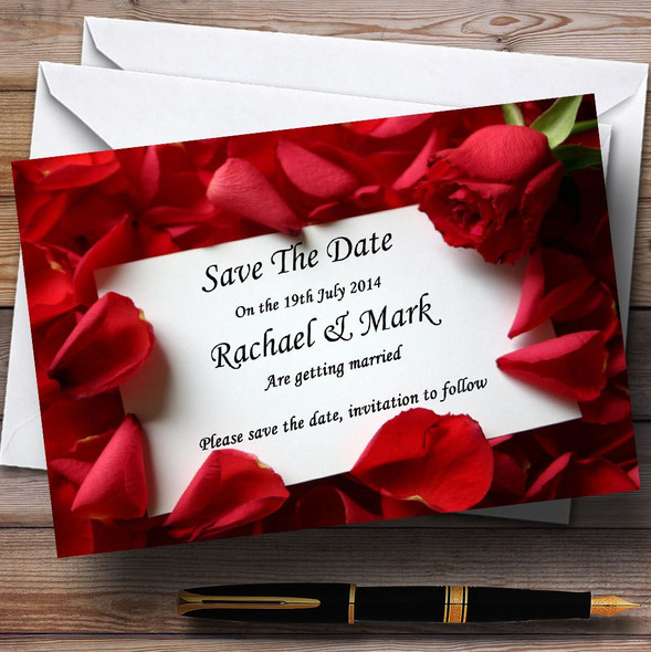 Red Rose Love Note Personalised Wedding Save The Date Cards