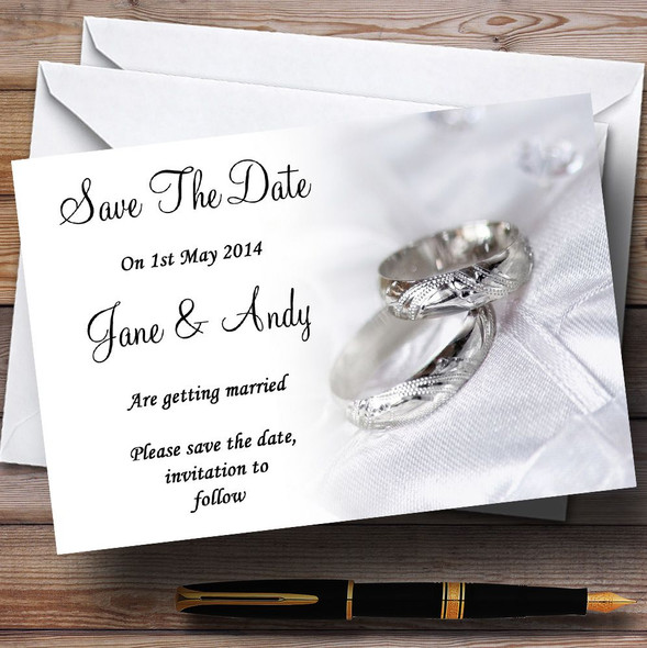 Classy White And Silver Rings Personalised Wedding Save The Date Cards