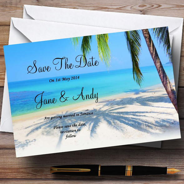 Tropical Beach Palm Tree Personalised Wedding Save The Date Cards