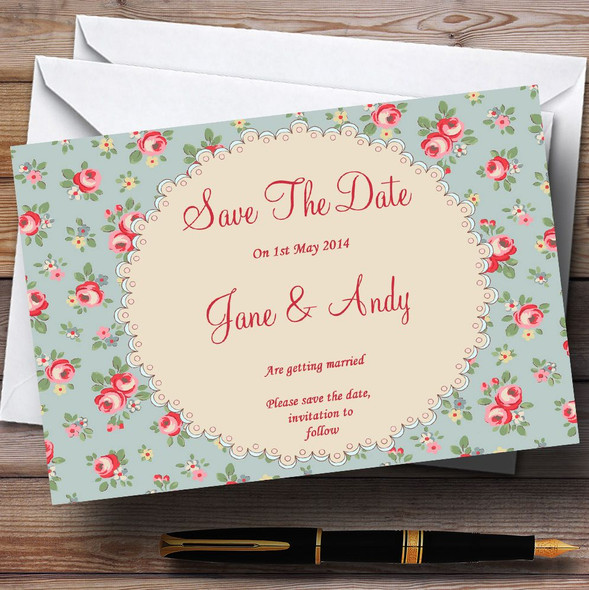 Floral Kidston Inspired Vintage Personalised Wedding Save The Date Cards