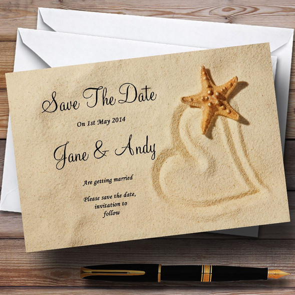Sandy Beach Romantic Personalised Wedding Save The Date Cards