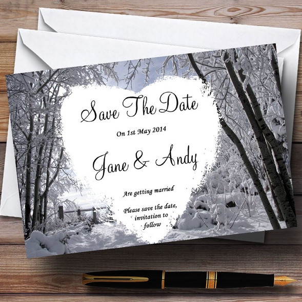 Winter Wedding Snow Scene Personalised Wedding Save The Date Cards