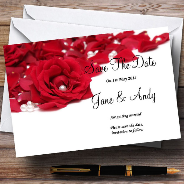 White Pearl Red Rose Petals Personalised Wedding Save The Date Cards