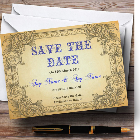 Typography Vintage Blue Postcard Personalised Wedding Save The Date Cards