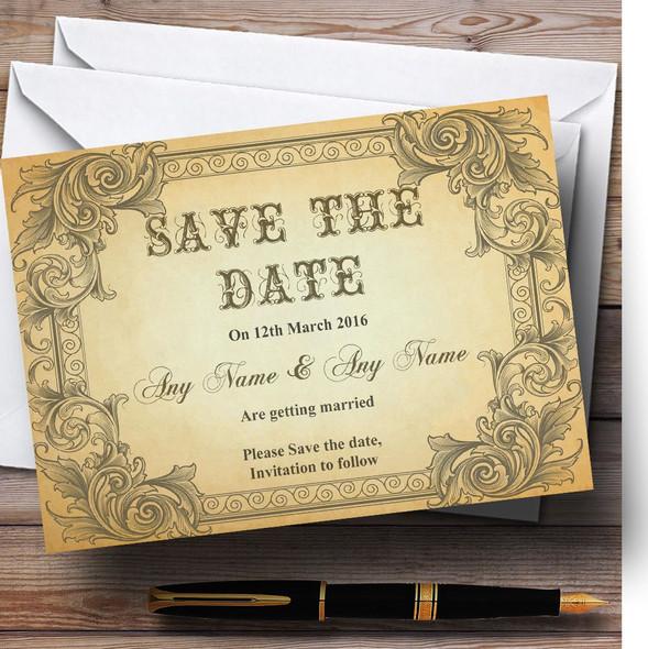 Typography Vintage Brown Postcard Personalised Wedding Save The Date Cards