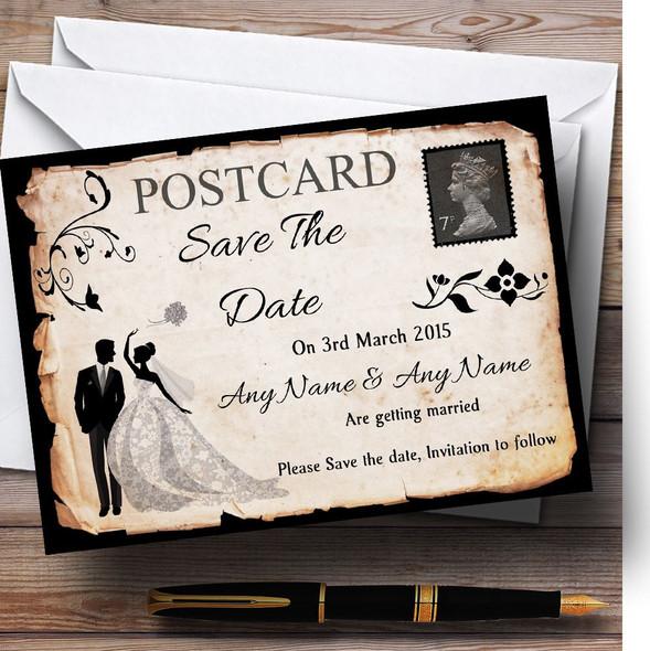 Black White Vintage Rustic Postcard Personalised Wedding Save The Date Cards