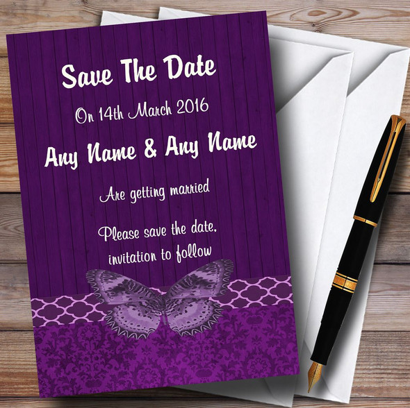 Rustic Vintage Wood Butterfly Purple Personalised Wedding Save The Date Cards