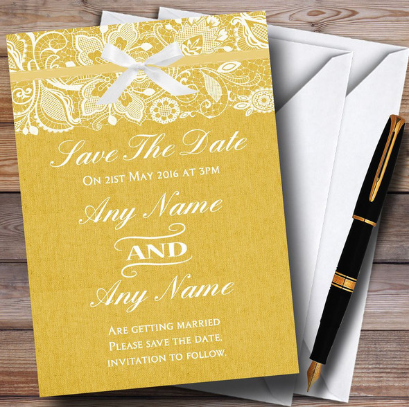 Vintage Golden Yellow Burlap & Lace Personalised Wedding Save The Date Cards